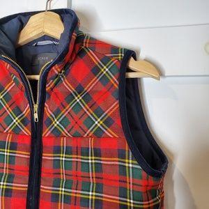 J. Crew Tartan Scottish Red Plaid Winter Vest XS
